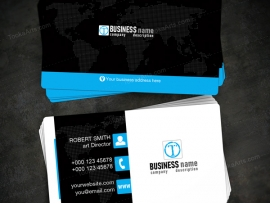 Global Elegant corporate Business Card Template blue